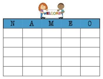 Back to School Name Bingo Template