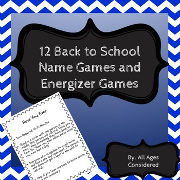 Back to School Name Games and Activities
