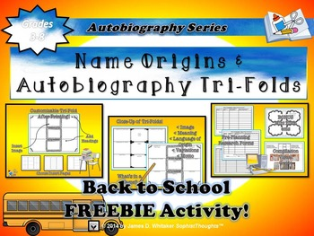 Back to School Name Origin & Autobiography Tri-Folds
