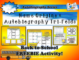 Back to School Name Origin & Autobiography Tri-Folds
