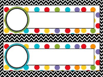 Back to School - Name Plates Polka Dots and Chevron