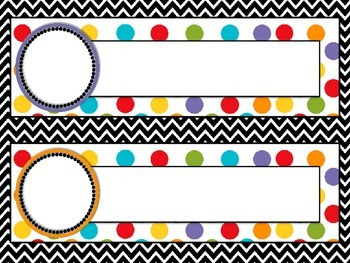 Name Labels, Back to School Chevron and Polka dot with Large Circles