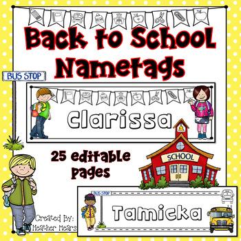 Back to School Name Tags Editable