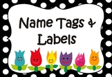 Flower Name Tags, Labels, templates - Editable