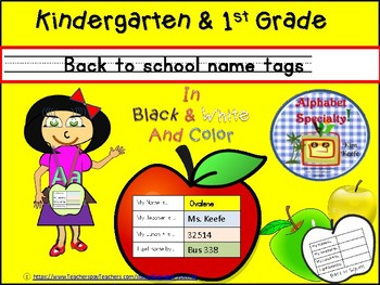 Back to School Name Tags! Simple! Informative! K-5 - 3rd