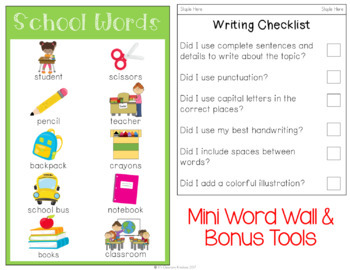 Back to School Napkin Book Writing Prompts