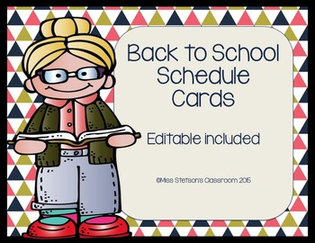 Back to School Navy and Coral Schedule Cards BUNDLE