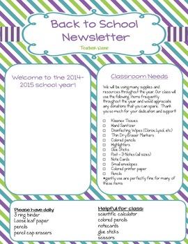 Newsletter:  Back to School
