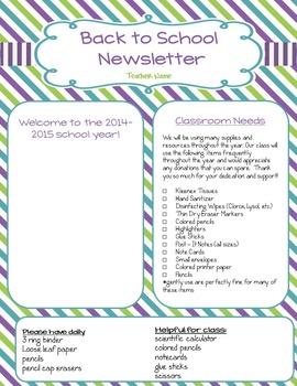 Newsletter:  Back to School