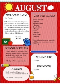 Back to School Newsletter - August Monthly Theme