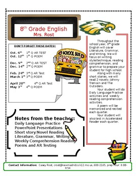 Back to School Newsletter for Parents