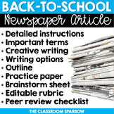 Back to School Writing Activity - Newspaper Article