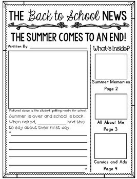Back to School Newspaper Writing Activity