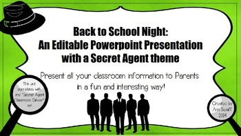 Back to School Night: An Editable Ppt Presentation with a Secret Agent Theme