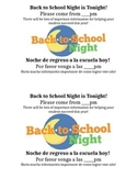 Back to School Night Flyer in English and Spanish