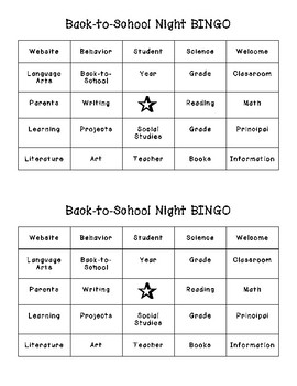 Back to School Night Bingo