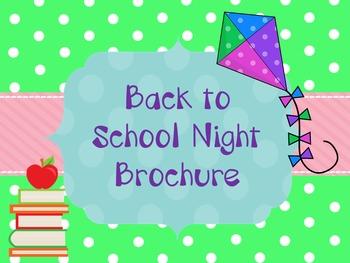 Back to School Night Brochure- Editable