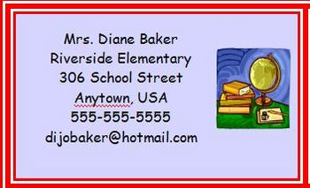 Back to School Night Business Card for Upper Grades