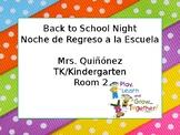 Back to School Night (EDITABLE) Bilingual- English/Spanish Powerpoint
