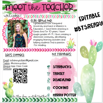 Back to School Night EDITABLE Power Point Cactus Chic
