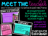 Back to School Night EDITABLE Presentation and forms