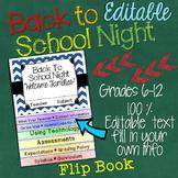 MEET THE TEACHER OPEN HOUSE EDITABLE FLIP BOOK FOR MIDDLE