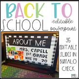 Back to School Night Editable PowerPoint in a Buffalo Check Farmhouse Theme