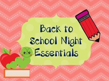 Back to School Night Essentials- Editable
