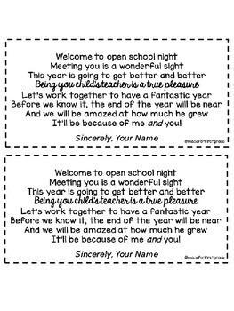 Back to School Night Freebies! Open House, Meet the Teacher