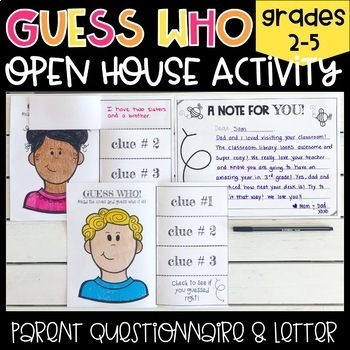 """Open House """"Guess Who"""" Activity and Note to Parents"""