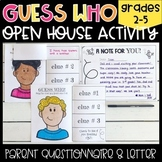 "Open House ""Guess Who"" Activity and Note to Parents"