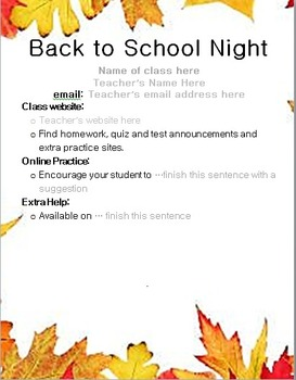 Back to School Night Handout and Parent Information Form EDITABLE