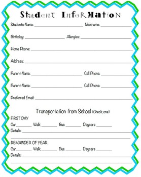 Back to School Night Handouts