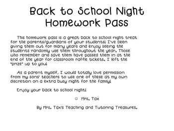 Back to School Night Homework Pass