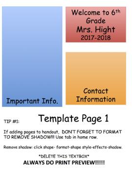 Back to School Night Information Mini Handout