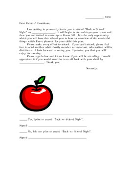Back To School Night Invitation Letter Response By B Rogers Tpt
