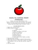Back to School Night Itinerary