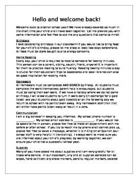 Back to School Night Letter English editable