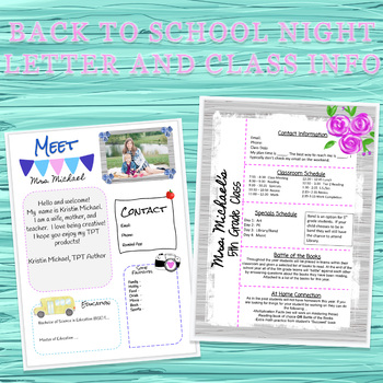 Back to School Night Letter and Class Info - Farmhouse Style