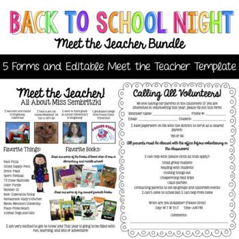 Back to School Night Meet the Teacher Bundle