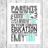 Back to School Night Mint Pun Parent Gift Word Art Teacher Conferences Printable