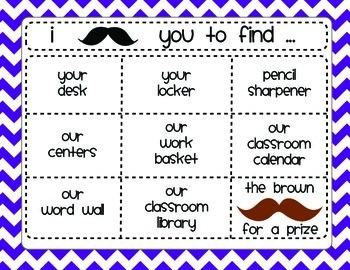 Back to School Night Mustache Scavenger Hunt 5th Grade