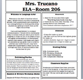 Back to School Night Newsletter Template/Welcome Letter/Syllabus