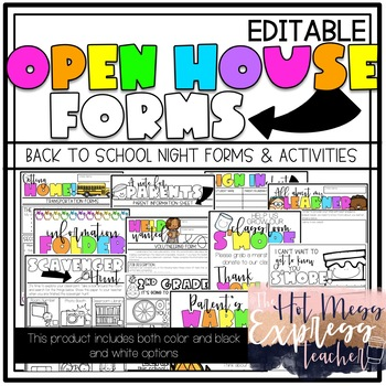 Back to School Night/Open House Forms & Activities (EDITABLE)