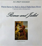 Back to School Night/Open House Activity: Parent Survey for Romeo and Juliet