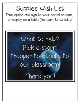 Back to School Night / Open House Printables: Star Wars
