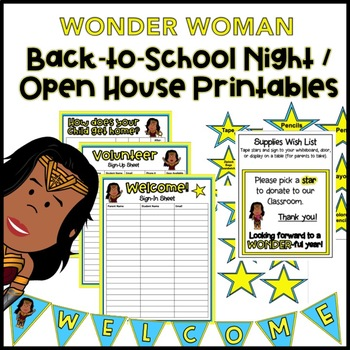 Back to School Night / Open House Printables: WONDER WOMAN