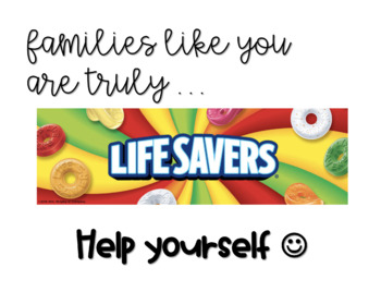 EDITABLE BTS/Parent Conference Sign: Families like you are a lifesaver!