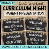 Back to School Parent Night PowerPoint-EDITABLE- Burlap and Chalkboard