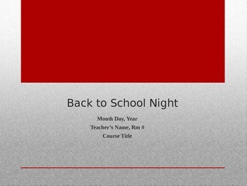 Back to School Night Parent Presentation Template
